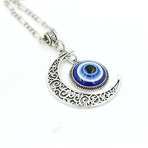 Glass Evil Eye Necklace (Crescent Moon Pendant Blue Eyes Necklace Evil Eye Glass Art Picture Triple Goddess Pendant)
