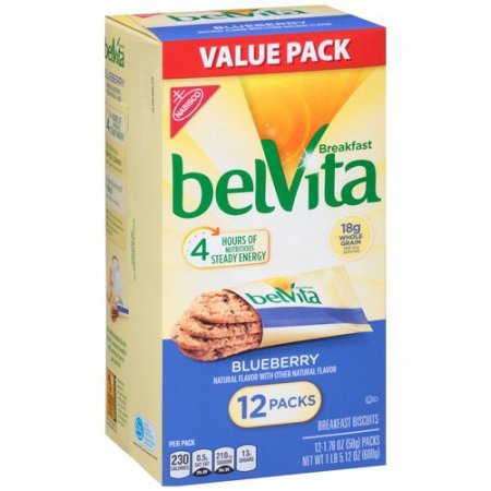 Belvita Breakfast Biscuits, Blueberry, 1.76 Ounce, 12 Count (Pack of 4)
