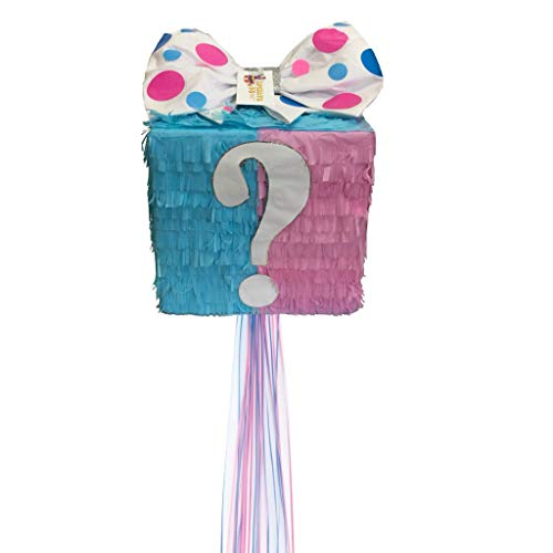 APINATA4U Mystery Gift Box Gender Reveal Pinata Traditional & Pull Strings Style -