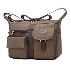 "Material: Light Weight Nylon Color: Gray/Navy/Coffee/Gray/Purple/Green/Black/Pink Dimension:11.4 "" L x9.8"" H x 4.7"" D,Lightweight Messenger Bag for Women Travel or Everyday Pack Crossbody Handbag for Women With Adjustable Shoulder Strap + Mul..."