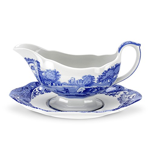 - Spode Blue Italian Sauceboat and Stand