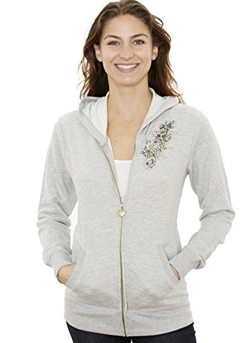 Jordacshe Zip Up Women's Hoodie – Grey - Ultra Soft, Comfortable and Cozy Hooded Cotton Sweatshirt - X-Large - by