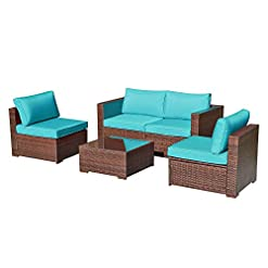 Garden and Outdoor OC Orange-Casual 5 Piece Patio Furniture Set All-Weather Outdoor Small Sectional Sofa Set Weaving Wicker Couches with… outdoor lounge furniture