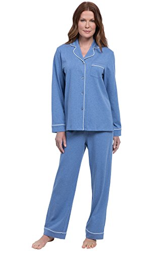 (PajamaGram Women Pajamas So Soft - Button Up Pajamas for Women, Blue, L,)