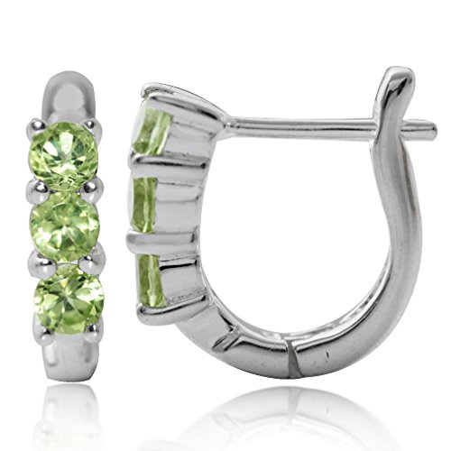 3-Stone Natural Peridot White Gold Plated 925 Sterling Silver English Huggie/Hoop Earrings