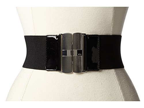 [Lauren Ralph Lauren Womens Patent Stretch Wide Belt Black M] (Stretch Patent Buckle Belt)