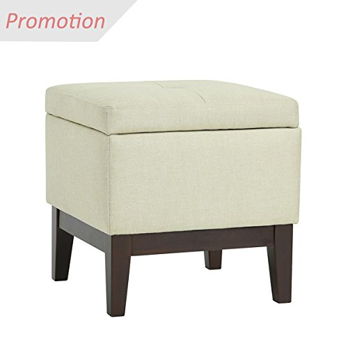 EGGREE Modern Accent Tufted Top Linen Storage Ottoman Footstool Square Upholstered Ottoman Foot Rest Stool for Living Room Bedroom Office,Beige