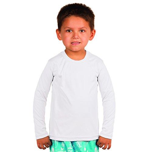 Vapor Apparel Toddler UPF 50+ UV Sun Protection Performance Long Sleeve Performance T-Shirt 3T White