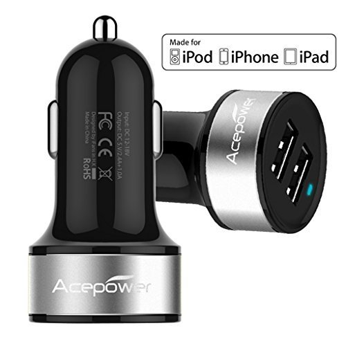 [Certified by Apple - Lifetime Warranty] ACEPower® Dual USB Ports 3.4A Portable USB Car Charger for iPhone 6 6plus 5 5S 5C 4 4S,iPad 4 3 2,iPad mini,iPad air Battery Power Supply for All Apple Device, Galaxy, Cell Phones, Tablet, Android Devices, Portable Cigarette Lighter Plug, Mobile Travel Charging Station 12V Input (Lightning Cable/Adapter Not Included)- Premium MFI Quality (Black w. Silver Band)