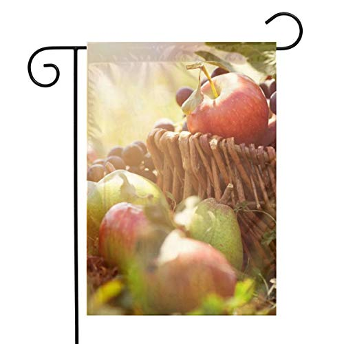 Apple Grape Fruits in Basket Garden Flags House Indoor & Outdoor Holiday Decorations,Waterproof Polyester Yard Decorative for Game Family Party Banner - Flag Apple Basket