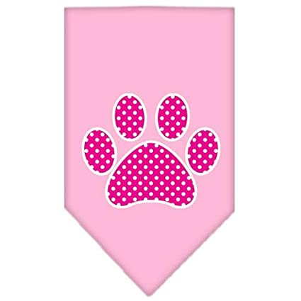 Pink Swiss Dot Paw Screen Print Dog Bandanas