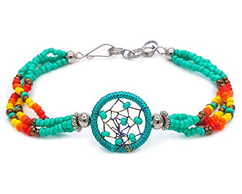 Handmade Native American Style Tribal Dream Catcher Beaded Multi Strand Bracelet (Mint/Teal)