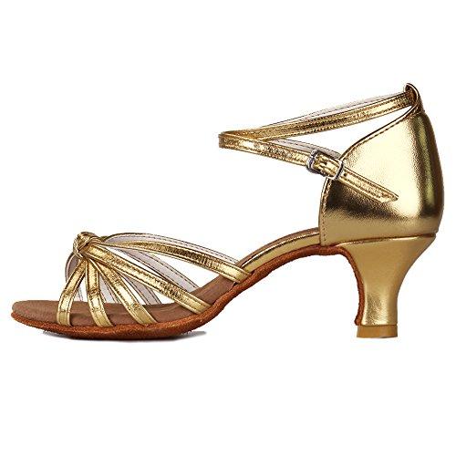 Roymall Womens Satin Latinska Dansskor Modell 217 5cm Guld