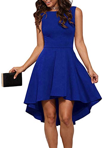 (SimpleFun Women's Sleeveless Knee Length Hi Low Boat Neck Formal Semi Cocktail Party A-line Skater Dress Blue Small)