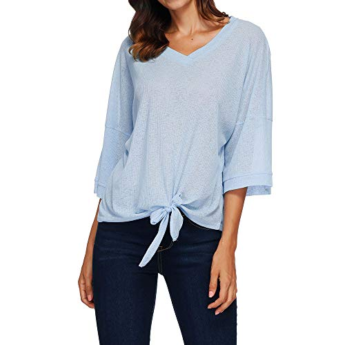 (Littay Women's 3/4 Sleeve Tops, Women Autumn V Neck 3/4 Sleeve Bandage Solid Top Casual Blouse Tops)