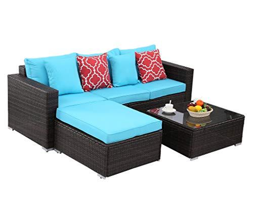 Do4U Patio Sofa 4 Pieces Set Outdoor Furniture Sectional All-Weather Wicker Rattan Sofa Turquoise Seat & Back Cushions, Garden Lawn Pool Backyard Sofa Wicker Conversation Set (4552-MIX-TRQ-4)