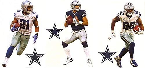 Fathead Dallas Cowboys Mini Graphics Team Set of 3 Players + 3 Cowboys Logo Official NFL Vinyl Wall Graphics - Dak Prescott, Ezekiel Elliott, Dez Bryant 7