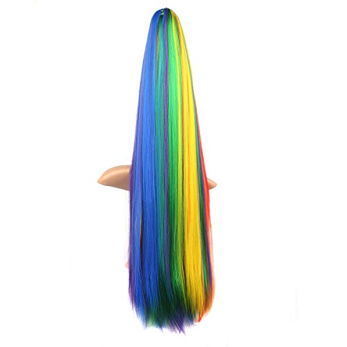 Rainbow Colors Long Straight Clip on Ponytail Hair Piece