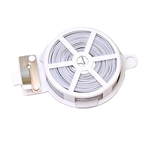 1 Coil 50m Multifunction Line Organizer-Gardening Tape Sturdy Metal Cable Garden Plant Twist Tie Clamps / Clasps Tie with Cutter For Gardening Home Office Using (White) White Plastic Twist Ties