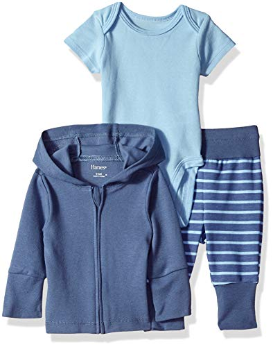 Hanes Ultimate Baby Flexy Jogger with Bodysuit and Zippin Knit Hoodie Set, Blue Fun 6-12 Months