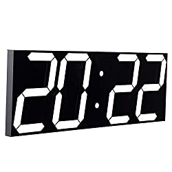 CHKOSDA Remote Control Jumbo Digital Led Wall Clock, Multifunction Led Clock, Large Calendar, Minute Alarm Clock, Countdown Led Clock, Big Thermometer, Mute Clock (Black Shell)