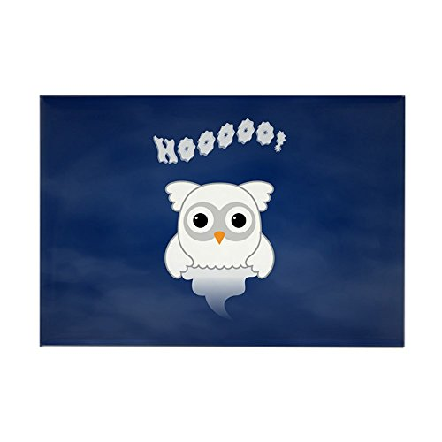 (Rectangle Magnet Spooky Little Ghost Owl in the Mist)