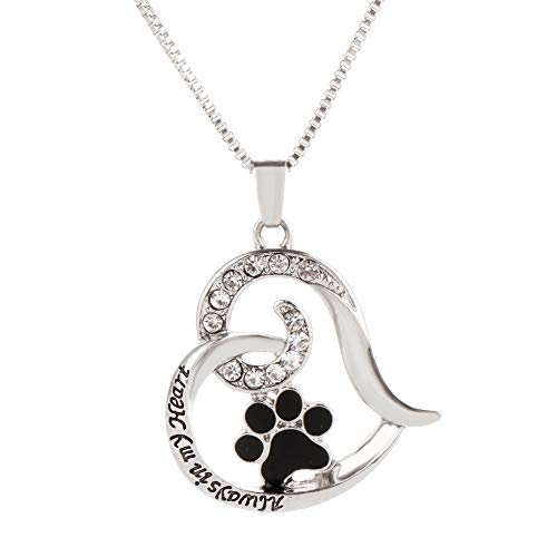 (VISUNION Dog Paw Necklace for Women Love Always in My Heart Engraved Necklace Jewelry Cute Puppy Paw Print Heart Pendant, Chain 18