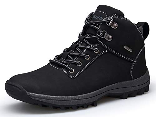 autumn winter black hiking boots for men waterproof outdoor boots lightweight trail sport sneakers backpacking boots youth big boys ankle walking boot waterproof winter shoes size 12 (572-1-Black-46)