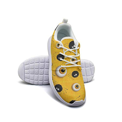 Halloween Spider and Eyes Yellow Woman's Flat Bottom Casual Shoes Sneakers Simple Fitness Shoe]()