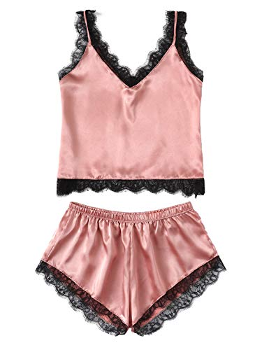 - MAKEMECHIC Women's Lace Satin Sleepwear Cami Top and Shorts Pajama Set Pink-2 XL