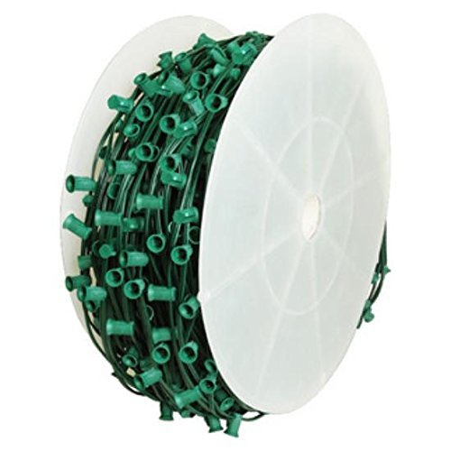 Queens of Christmas WL-C7-12G E12 Socketed C7 Cord Set on Green Wire with 12'' Spacing for Decorative Lights, 1000'