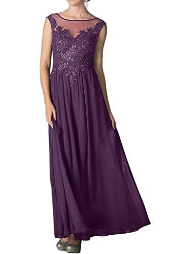 Chiffon Prom sera di abito da collo d' lungo linea onore popolare a ressing Dress damigella vestito abito da rotondo ivyd Damen uva pizzo OwRq00g