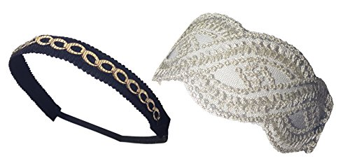 New 2 Pack Lace Rope Headband and Gold Chain Designer Fashion Hair Accessory by FashionNut Unique Birthday Present Idea Best Girlfriend Girl Her Teen Women Mother Lush Inexpensive Hot Stocking Stuffer (Christma Gift Ideas)