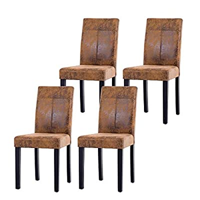 NOBPEINT Urban Style Solid Wood Leatherette Padded Parson Chair