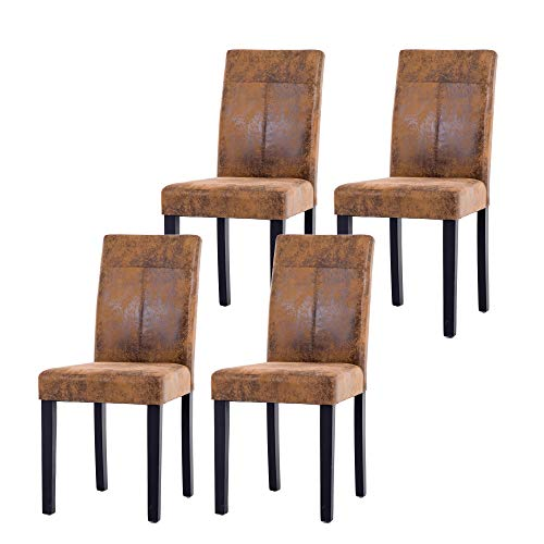 NOBPEINT Urban Style Solid Wood Leatherette Padded Parson Chair, Brown, Set of 4 ()