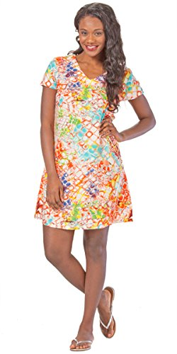 Short Sleeve Rayon Dress By Peppermint Bay in Honeycomb (Small (6-8), Orange/Blue/White)