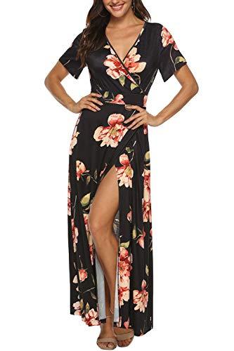 Zattcas Floral Maxi Dress Womens Short Sleeve V Neck Summer Party Wedding Dress,Floral Black,Medium