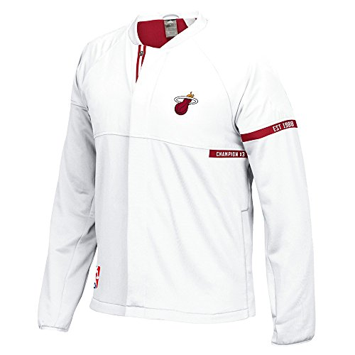 adidas Miami Heat NBA White 2016-17 Authentic On-Court Team Issued Pro Cut Warm Up Jacket for Men ()