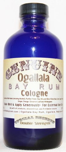 4 oz Genuine Ogallala Bay Rum Cologne – SPECIAL RESERVE Double Strength Cologne comes in a cobalt blue (Ogallala Bay Rum Double)