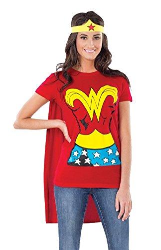 Female Superhero T-Shirt Adult Costume Wonder Woman - Large -