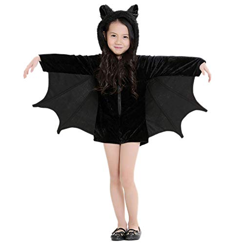 JIKF-shirt Child Cosplay Cute Bat Costume Kids Halloween Costumes Zipper Jumpsuit Connect Wings Clothes Black S ()