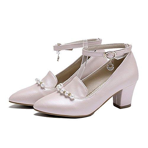 Heels Pink Pumps Solid Toe Buckle Closed Kitten Women's Odomolor Shoes PU wqC66Y