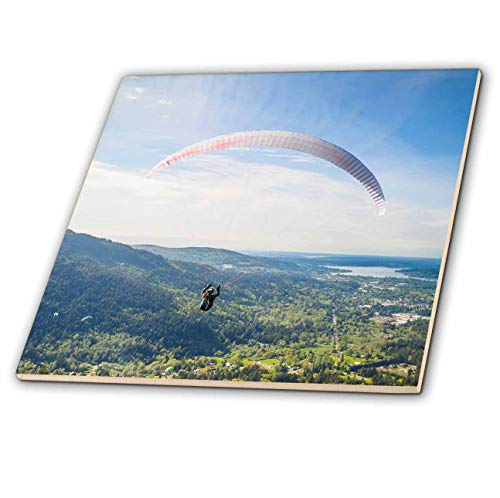 3dRose Danita Delimont - Paragliding - USA, Washington State. Paragliders launch from Tiger Mountain. - 8 Inch Glass Tile (ct_315159_7) ()