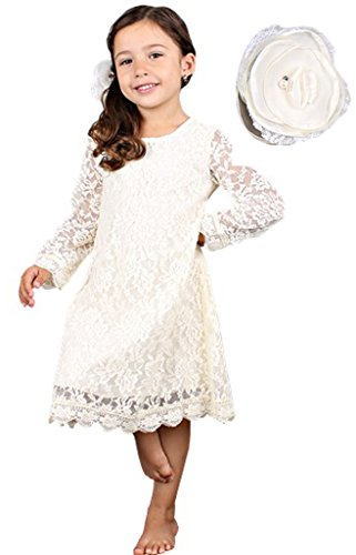 Bow Dream Flower Girl's Dress Lace Cream Ivory with Hair Flower 7