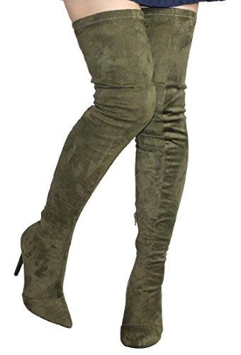Camssoo Damesmode Puntige Teen Terug Binden Lace Up Dij Hoge Over De Knie Stiletto Hak Katoenfluweel Laarzen Leger Groen