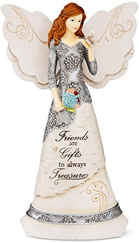 Elements Angel Statue - Elements Friend Angel Figurine by Pavilion, 8-Inch, Holding Butterfly, Inscription Friends Are Gifts to Always Treasure