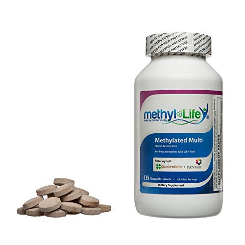 Methylated Multi by Methyl-Life|Methylated Chewable Multi-Vitamin for Children and Adults (30 Adult Servings - 120 tablets)