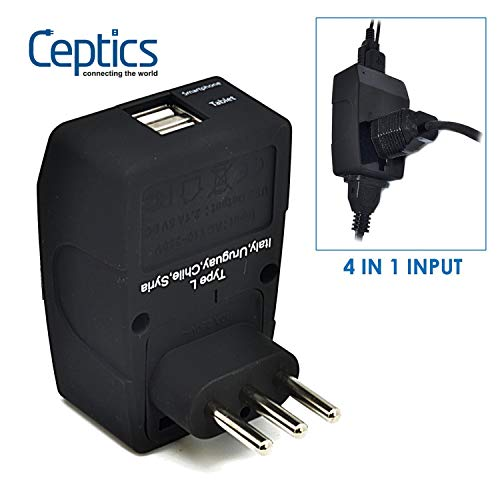 Ceptics GP4-12 2 USB Italy Travel Adapter 4 in 1 Power Plug (Type L) - Universal Socket