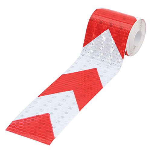 Kocome 3M Night Reflective Conspicuity Safety Warning Tape Strip Arrow Sticker 2X118 (White-Red)