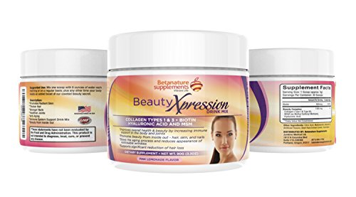Beauty Xpression Drink mix - Collagen Types 1 & 3, Beauty Formula with Biotin, MSM, Hyaluronic Acid, DHT Blockers, Infused with Vitamins for Hair Skin Nails & Joints - Pink Lemonade Flavour